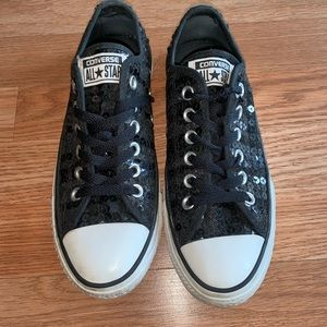Converse Black Sequined Shoes